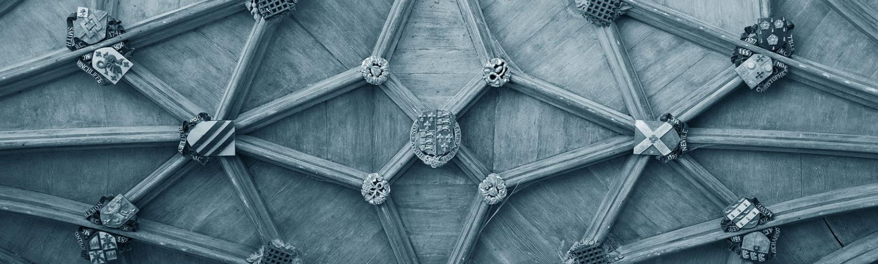 Oxford University crests on the ceiling