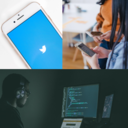twitter app, two people with phones, man coding