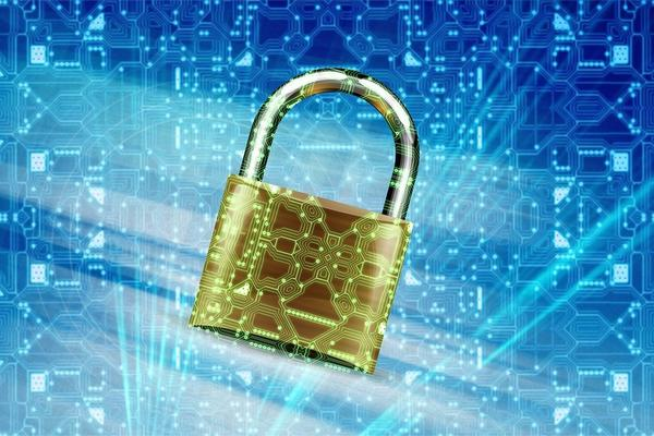 Gold padlock on a blue background showing networks - web